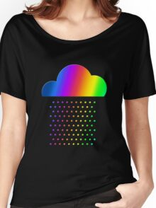 Colorful weather - we love rainbow rain! raindrop, clouds, color Women's Relaxed Fit T-Shirt