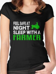 Feel safe at night sleep with a farmer Women's Fitted Scoop T-Shirt