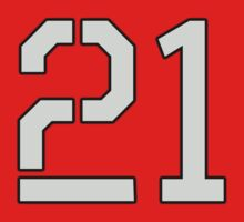 21, TEAM SPORTS, NUMBER 21, TWENTY ONE, TWENTY FIRST, TWO, ONE, Stencil, Competition, on Grey Baby Tee