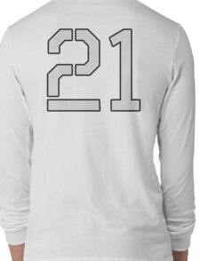 21, TEAM SPORTS, NUMBER 21, TWENTY ONE, TWENTY FIRST, TWO, ONE, Stencil, Competition, on Grey Long Sleeve T-Shirt