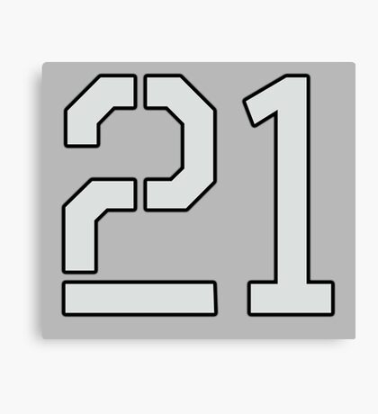 21, TEAM SPORTS, NUMBER 21, TWENTY ONE, TWENTY FIRST, TWO, ONE, Stencil, Competition, on Grey Canvas Print