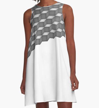 Grey Cubes Triangle A-Line Dress