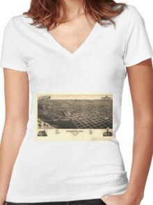 Vintage Bismark North Dakota Map (1883) Women's Fitted V-Neck T-Shirt