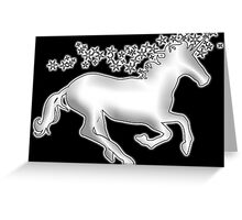 UNICORN, in black, Heraldry, Horse, Legend, Myth, Mythology, Tale, Story, fable, fiction, folklore, lore,  Greeting Card