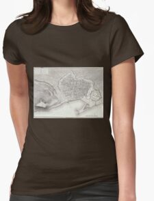 Vintage Map of Barcelona Spain (1806) Womens Fitted T-Shirt