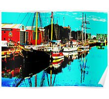 THREE BOATS -PORT ADELAIDE Poster