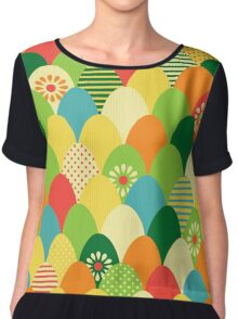 Cute,cool,colorful,egg head,pattern,fun trendy,abstract Chiffon Top