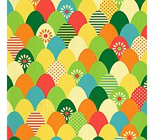 Cute,cool,colorful,egg head,pattern,fun trendy,abstract Photographic Print