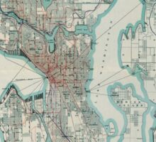 Vintage Map of Seattle Washington (1911) Sticker