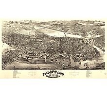 Vintage Pictorial Map of Boston (1880) Photographic Print