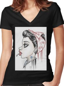 Vintage Girl Women's Fitted V-Neck T-Shirt