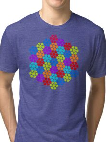 Multi-Colored Flower Pattern Tri-blend T-Shirt
