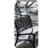 Snowy Benches By Creek iPhone Case/Skin