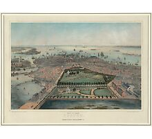 Vintage Pictorial Map of Boston MA (1850) Photographic Print