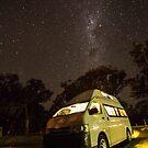 Campervan in the night by Gabor Pozsgai
