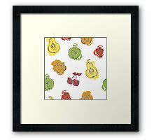 Cute pattern with watercolor painted fruit Framed Print