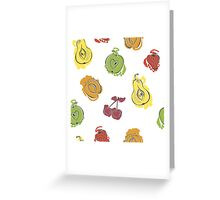 Cute pattern with watercolor painted fruit Greeting Card