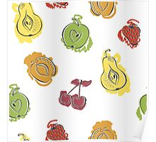 Cute pattern with watercolor painted fruit Poster