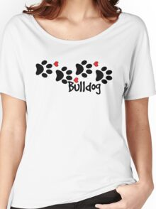 DOG PAWS LOVE BULLDOG DOG PAW I LOVE MY DOG PET PETS PUPPY STICKER STICKERS DECAL DECALS Women's Relaxed Fit T-Shirt