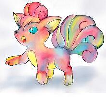 Rainbow Fire Fox (Vulpix) by littlemissfox