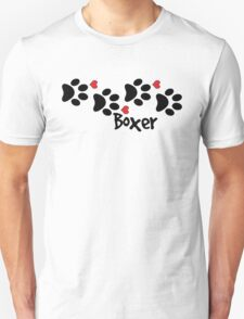 DOG PAWS LOVE BOXER DOG PAW I LOVE MY DOG PET PETS PUPPY STICKER STICKERS DECAL DECALS Unisex T-Shirt