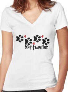 DOG PAWS LOVE ROTTWEILER DOG PAW I LOVE MY DOG PET PETS PUPPY STICKER STICKERS DECAL DECALS Women's Fitted V-Neck T-Shirt