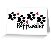 DOG PAWS LOVE ROTTWEILER DOG PAW I LOVE MY DOG PET PETS PUPPY STICKER STICKERS DECAL DECALS Greeting Card