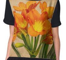 Orange Clivia Lily Blossoms - Textured  Chiffon Top
