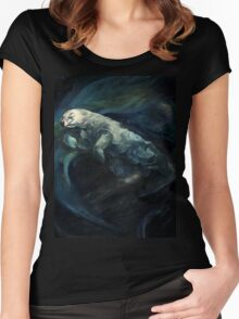Polar Bear Swimming With Northern Lights Women's Fitted Scoop T-Shirt