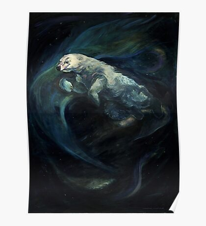 Polar Bear Swimming With Northern Lights Poster