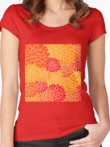 Vintage,retro,red,orange,yellow,70's,pattern,floral,elegant,chic Women's Fitted Scoop T-Shirt
