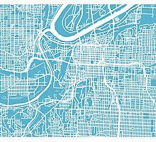Kansas City Map - Baby Blue Photographic Print