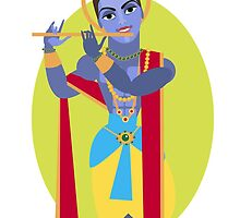 illustration of Hindu deity Lord Krishna flute by OlgaBerlet