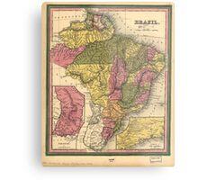 Vintage Map of Brazil (1846) Metal Print