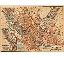 Vintage Map of Bremen Germany (1910) Photographic Print