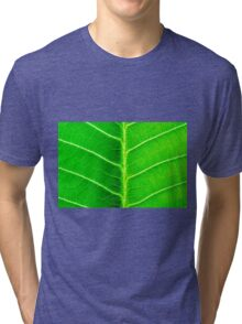 Macro shot of green leaf, nature pattern background Tri-blend T-Shirt
