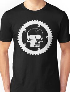Sprocket Skull- White on Black Unisex T-Shirt