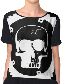 Sprocket Skull- White on Black Chiffon Top