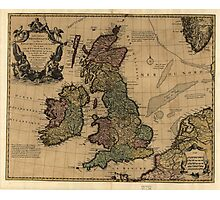 Vintage Map of The British Isles (1700s) Photographic Print