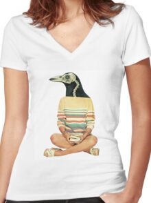 Crow head Women's Fitted V-Neck T-Shirt