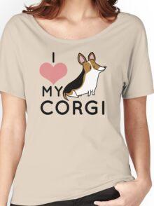 I Love My Corgi - Black Women's Relaxed Fit T-Shirt