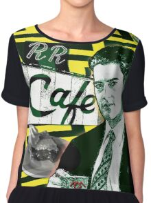 """Twin Peaks Agent Cooper """"A Damn FIne Cup of Coffee"""" Chiffon Top"""