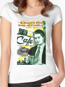 """Twin Peaks Agent Cooper """"A Damn FIne Cup of Coffee"""" Women's Fitted Scoop T-Shirt"""