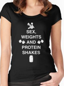 Sex, Weights And Protein Shakes Women's Fitted Scoop T-Shirt