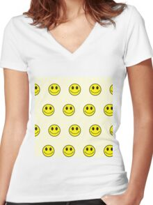 Big smiley faces pattern yellow,cream,black Women's Fitted V-Neck T-Shirt