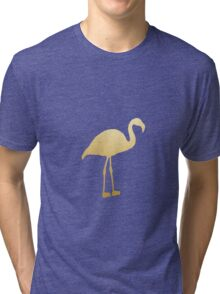 Gold Foil Flamingo Tri-blend T-Shirt