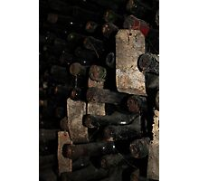 Ancient wine bottles with labels Photographic Print