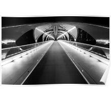 Light Tunnel in B&W Poster