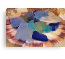 Sea Glass In A Scallop Shell Canvas Print
