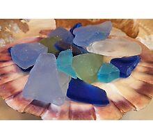 Sea Glass In A Scallop Shell Photographic Print